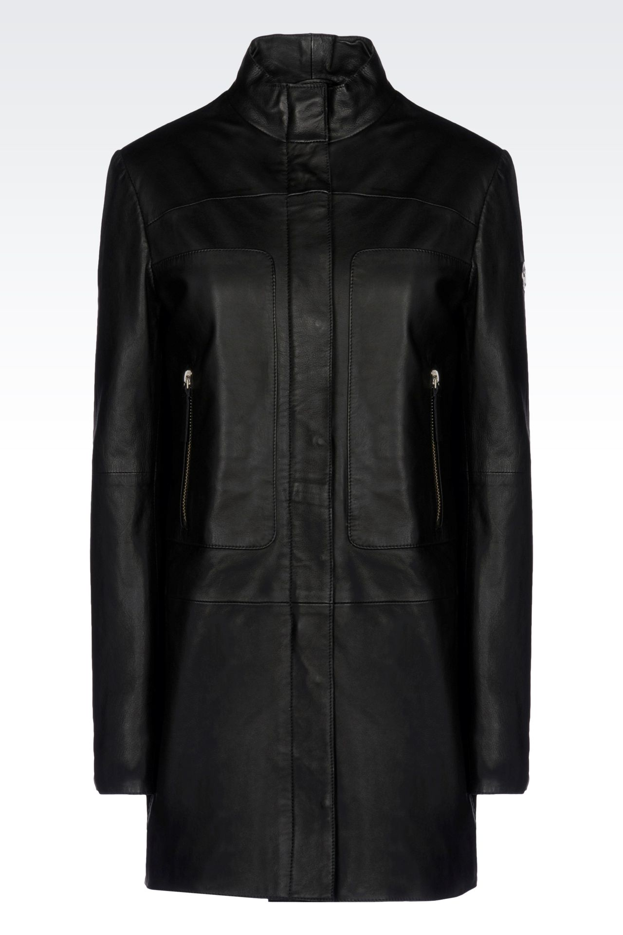 LEATHER PARKA: Leather jackets Women by Armani - 0