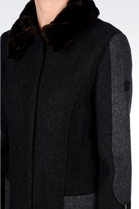 PEA COAT IN TWO-COLOUR MELANGE WOOL BLEND: Dust jackets Women by Armani - 5