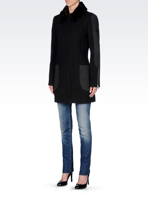 PEA COAT IN TWO-COLOUR MELANGE WOOL BLEND: Dust jackets Women by Armani - 3