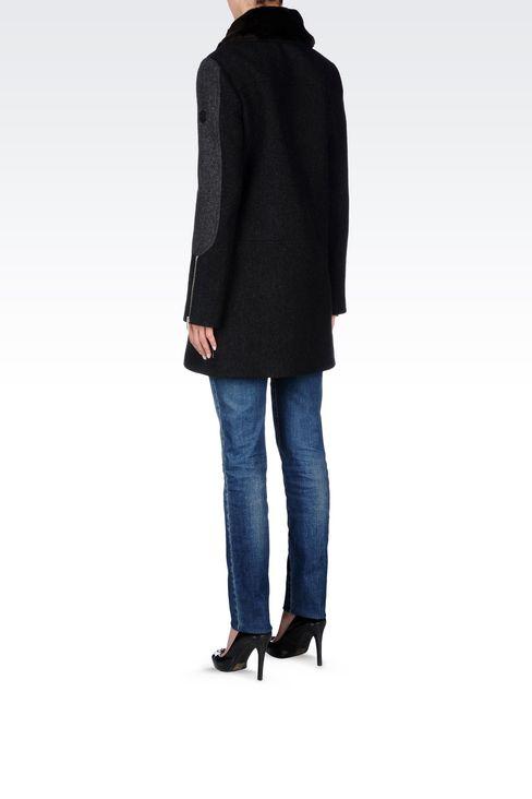 PEA COAT IN TWO-COLOUR MELANGE WOOL BLEND: Dust jackets Women by Armani - 4