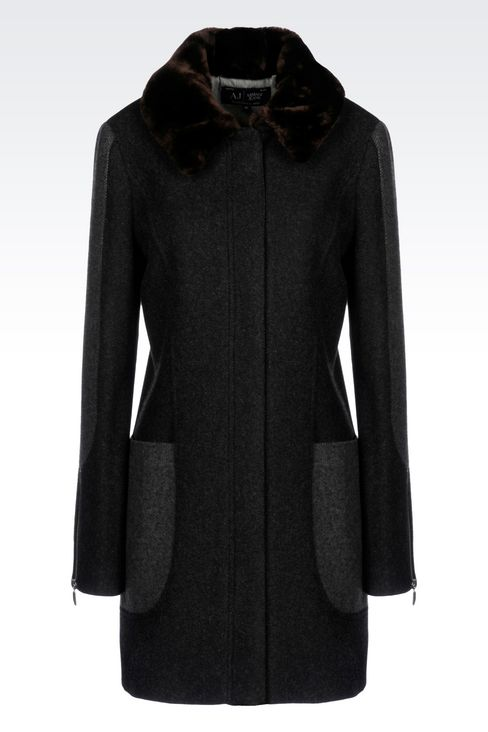 PEA COAT IN TWO-COLOUR MELANGE WOOL BLEND: Dust jackets Women by Armani - 1
