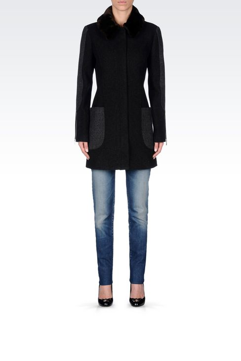 PEA COAT IN TWO-COLOUR MELANGE WOOL BLEND: Dust jackets Women by Armani - 2