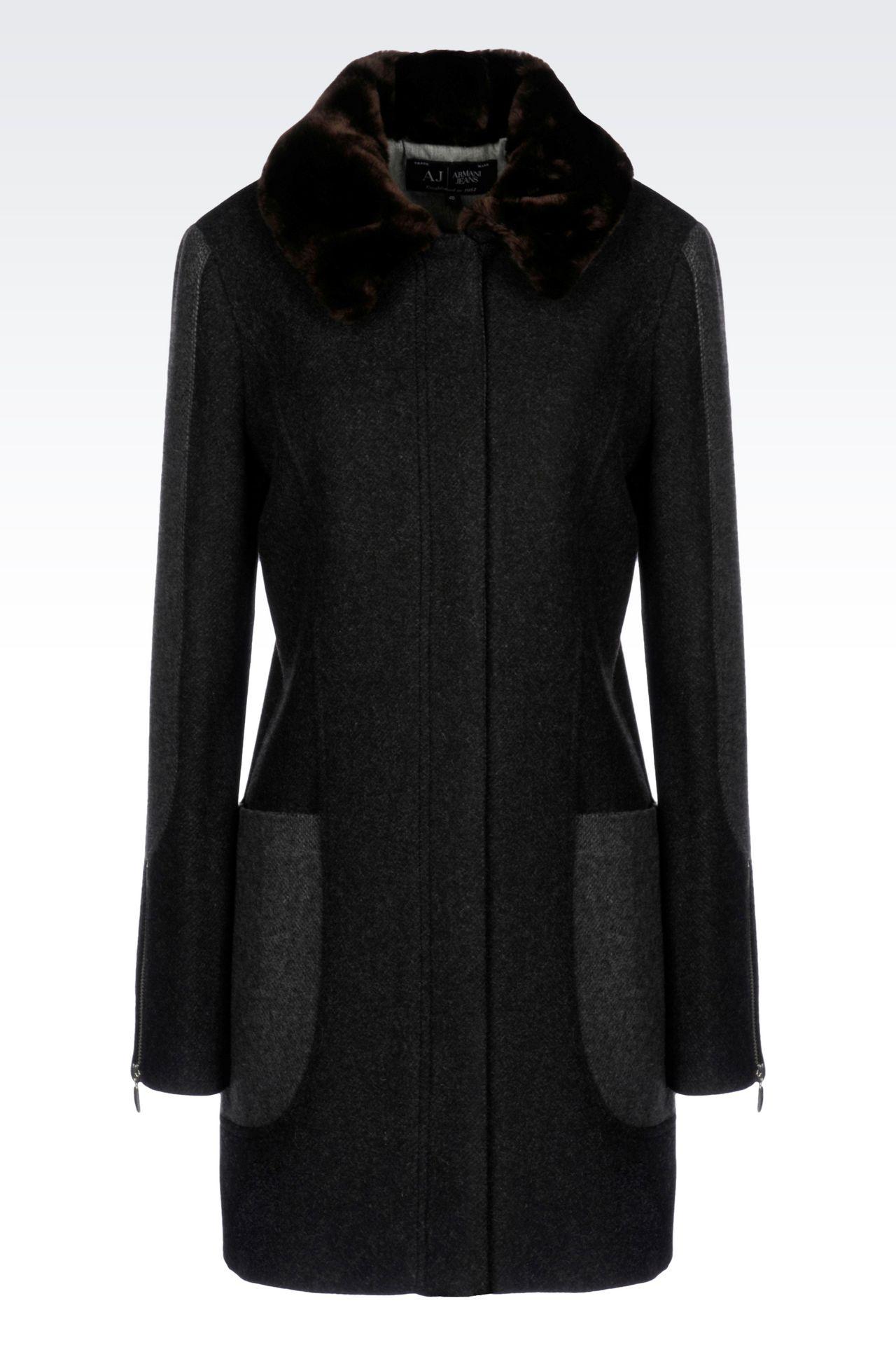 PEA COAT IN TWO-COLOUR MELANGE WOOL BLEND: Dust jackets Women by Armani - 0