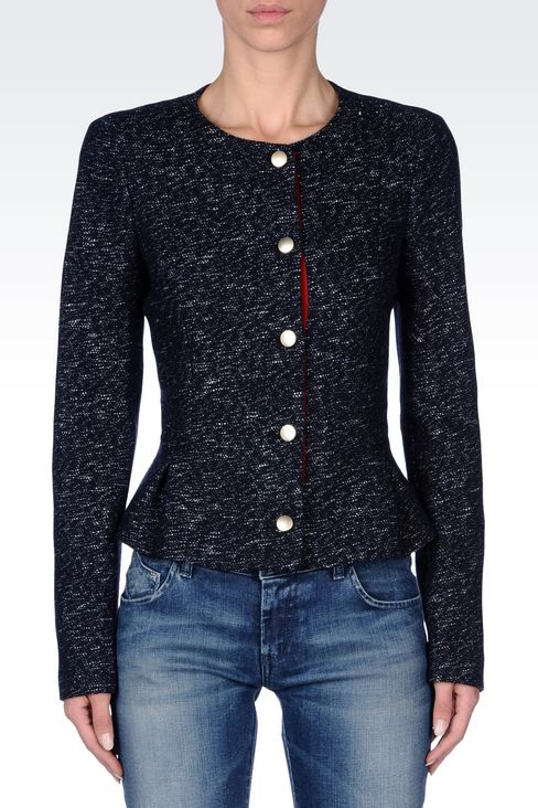 CREW NECK JACKET IN WOOL BLEND: Dinner jackets Women by Armani - 3