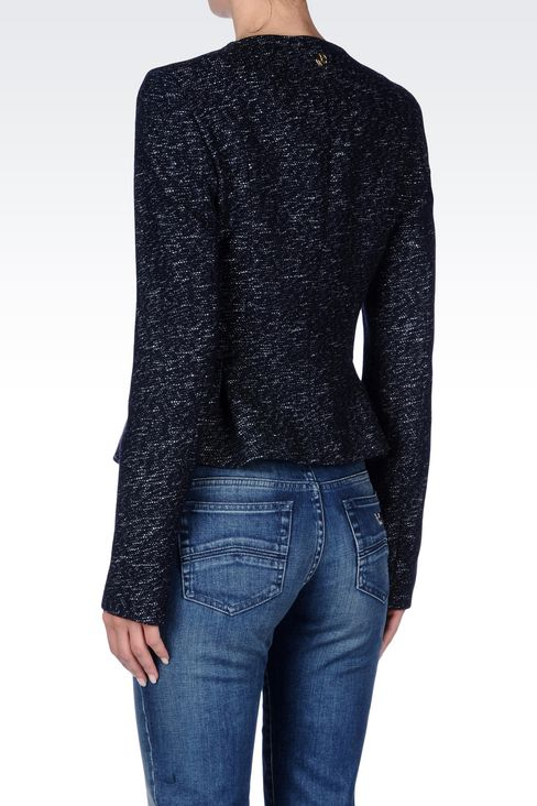 CREW NECK JACKET IN WOOL BLEND: Dinner jackets Women by Armani - 4