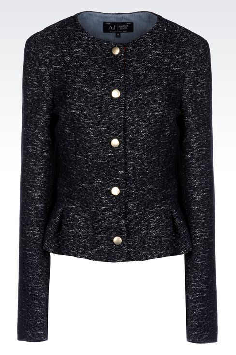 CREW NECK JACKET IN WOOL BLEND: Dinner jackets Women by Armani - 1
