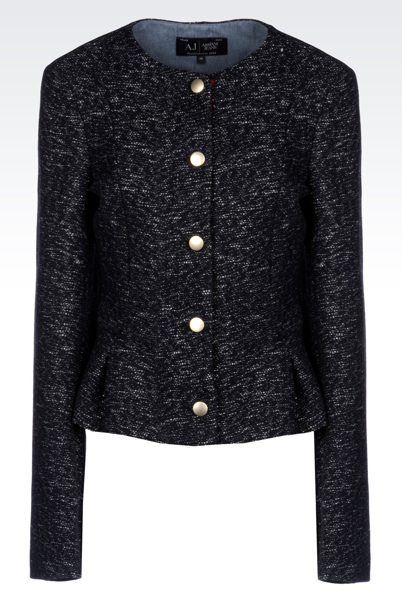 CREW NECK JACKET IN WOOL BLEND: Dinner jackets Women by Armani - 0