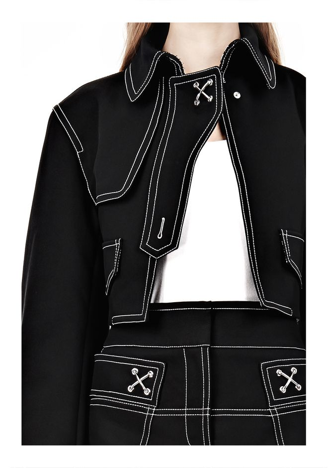 ALEXANDER WANG CUTAWAY TRENCH WITH CONTRAST STITCHING Jacket Adult 12_n_a