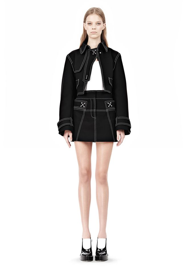 ALEXANDER WANG CUTAWAY TRENCH WITH CONTRAST STITCHING Jacket Adult 12_n_d