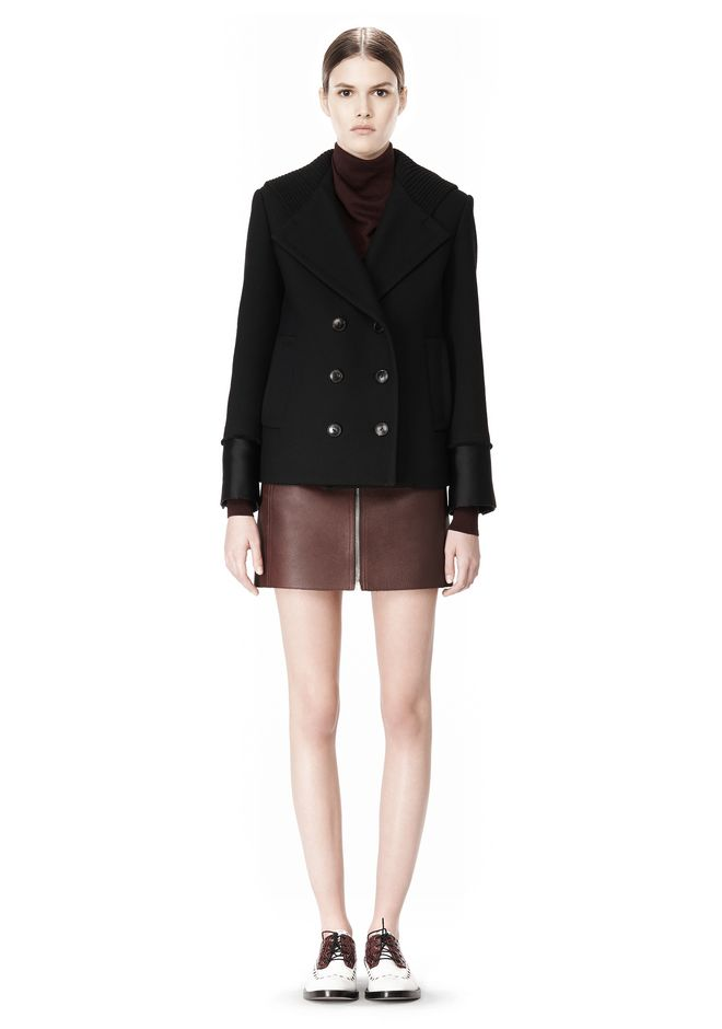 ALEXANDER WANG DOUBLE BREASTED PEA COAT WITH HOOD