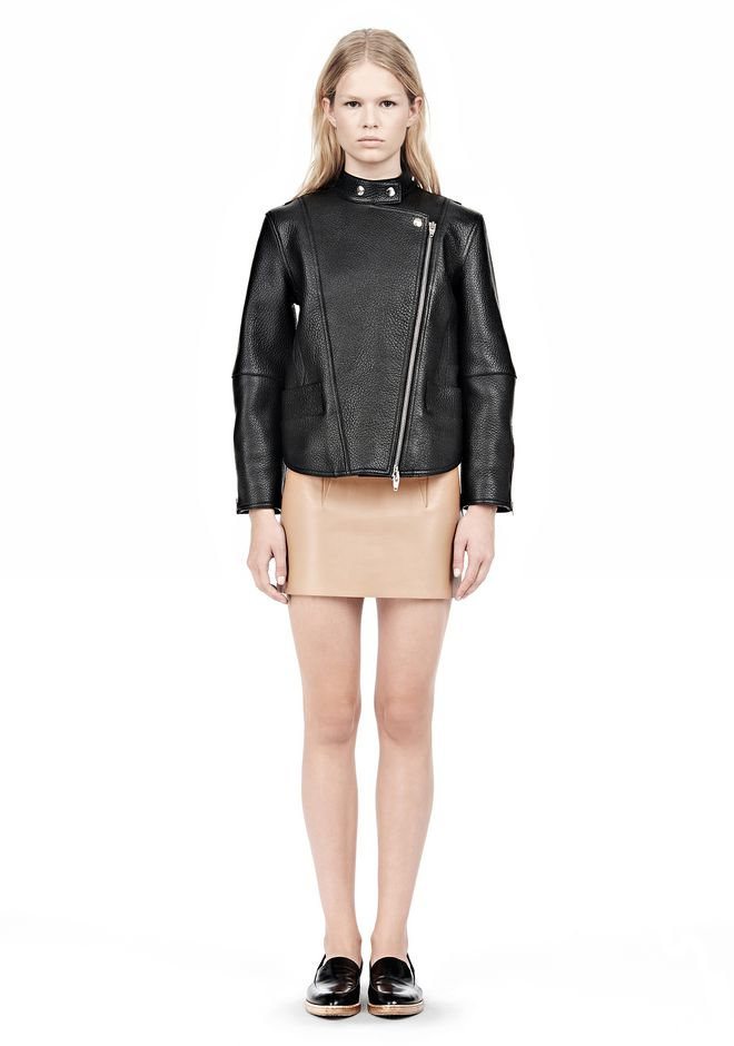ALEXANDER WANG CROPPED BIKER LEATHER JACKET