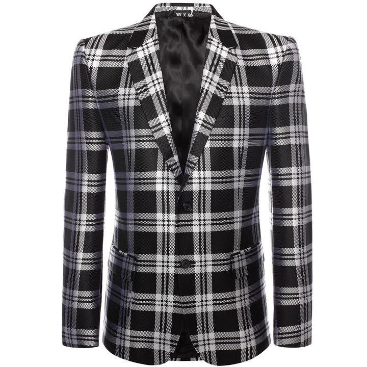 Alexander McQueen, 2-button Silk Check Jacquard Jacket