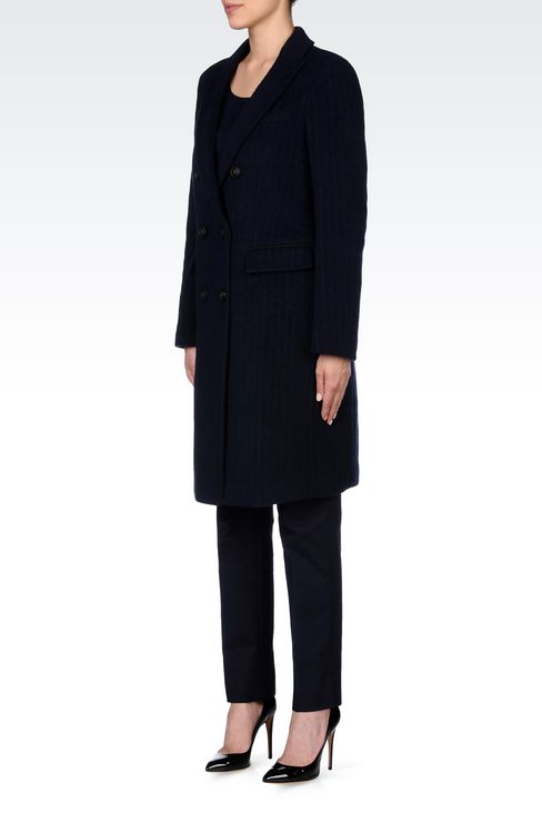 DOUBLE-BREASTED COAT IN PINSTRIPE WOOL: Double-breasted coats Women by Armani - 3
