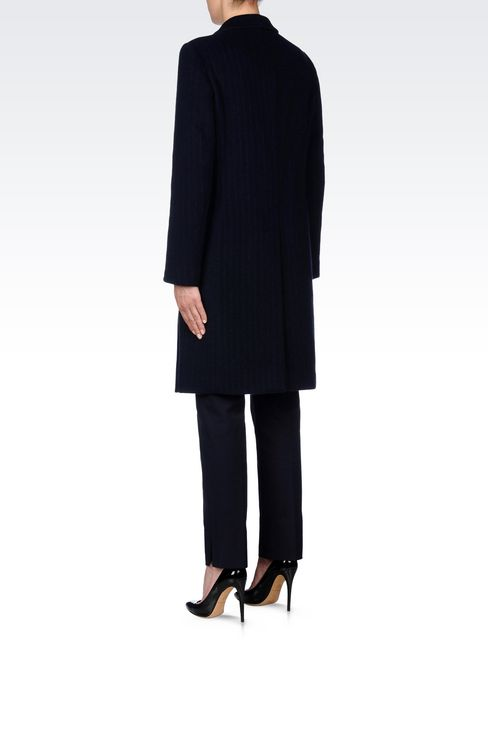 DOUBLE-BREASTED COAT IN PINSTRIPE WOOL: Double-breasted coats Women by Armani - 4