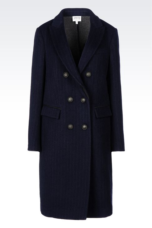 DOUBLE-BREASTED COAT IN PINSTRIPE WOOL: Double-breasted coats Women by Armani - 1