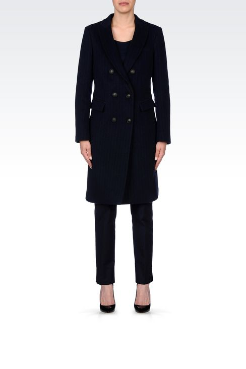 DOUBLE-BREASTED COAT IN PINSTRIPE WOOL: Double-breasted coats Women by Armani - 2