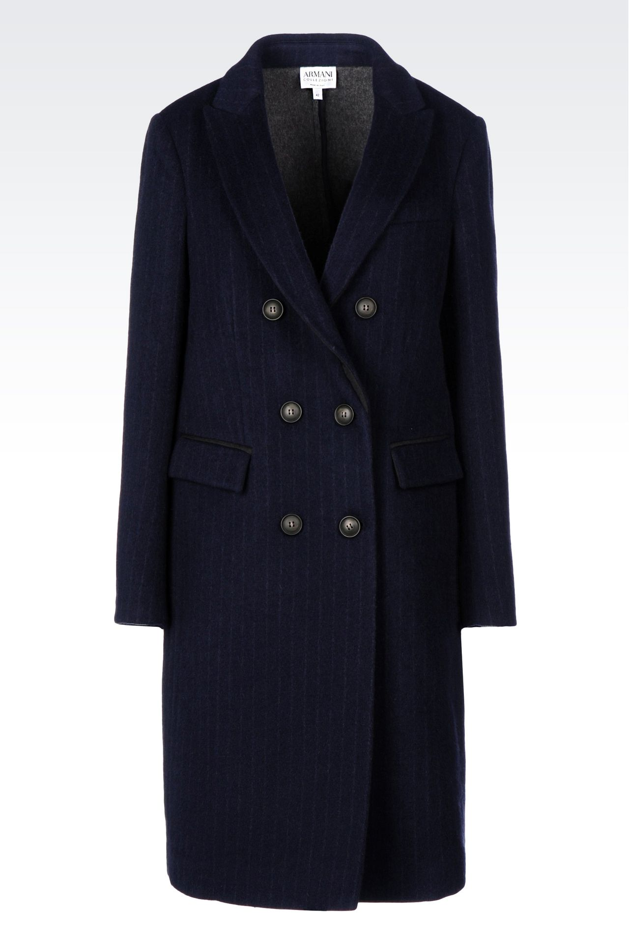 DOUBLE-BREASTED COAT IN PINSTRIPE WOOL: Double-breasted coats Women by Armani - 0