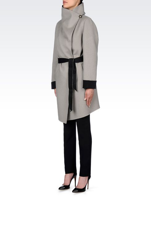 CLASSIC WOOL COAT WITH BELTED WAIST: Single-breasted coats Women by Armani - 3