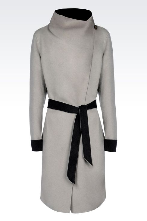 CLASSIC WOOL COAT WITH BELTED WAIST: Single-breasted coats Women by Armani - 1