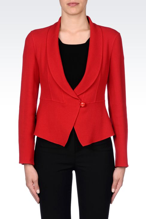 SHAPED JACKET IN CRÊPE: One button jackets Women by Armani - 3