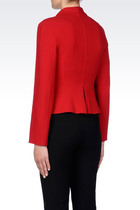 SHAPED JACKET IN CRÊPE: One button jackets Women by Armani - 4