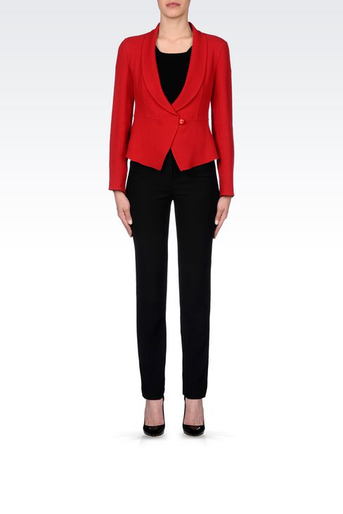 SHAPED JACKET IN CRÊPE: One button jackets Women by Armani - 2