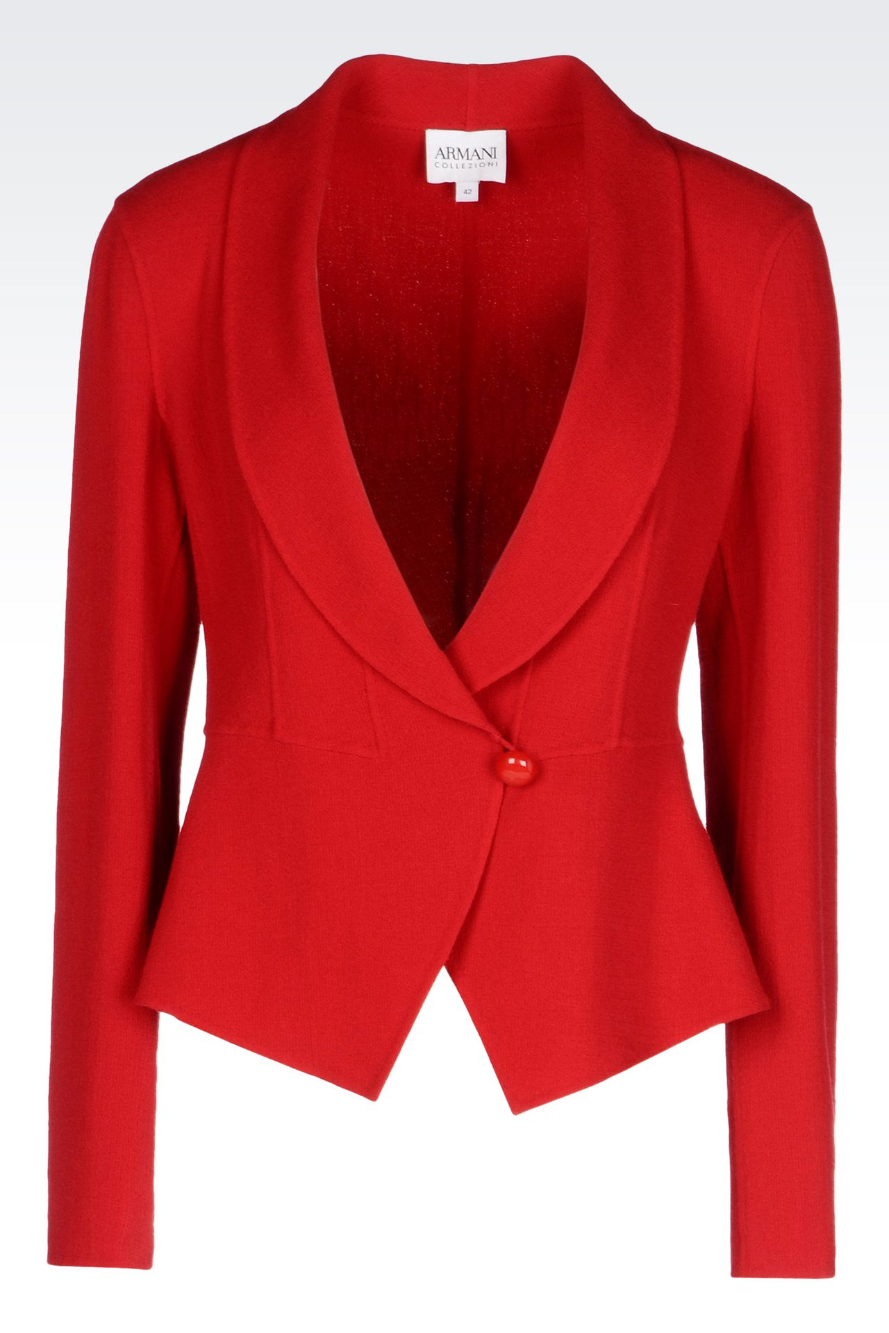 SHAPED JACKET IN CRÊPE: One button jackets Women by Armani - 0