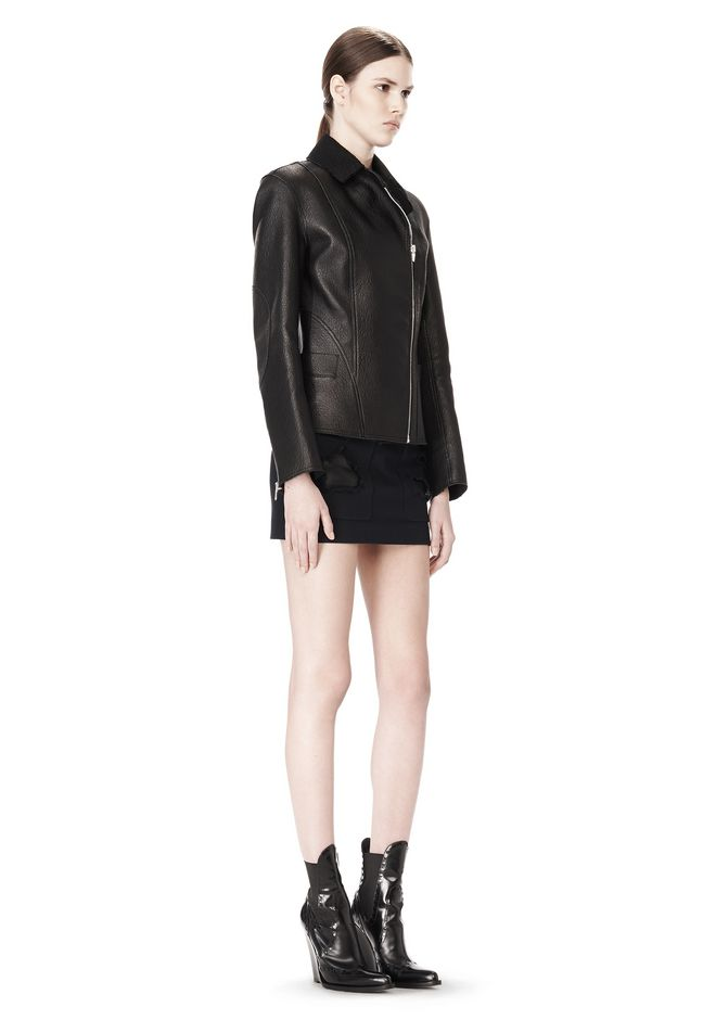 ALEXANDER WANG EXCLUSIVE LEATHER BIKER JACKET WITH RAW EDGE FINISH Jacket Adult 12_n_e
