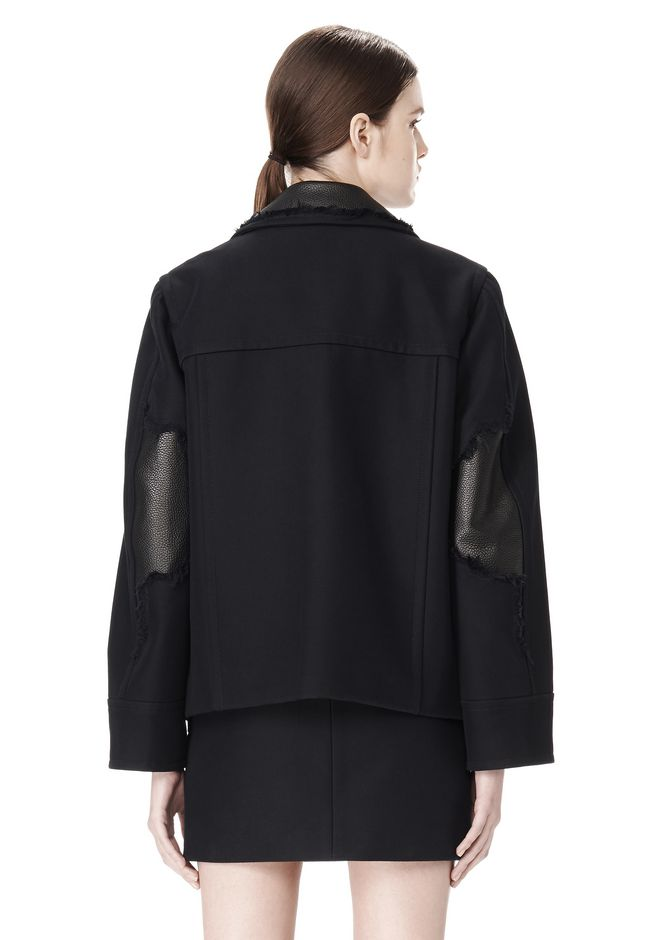 ALEXANDER WANG PEACOAT WITH DISTRESSED DETAIL JACKETS AND OUTERWEAR  Adult 12_n_a