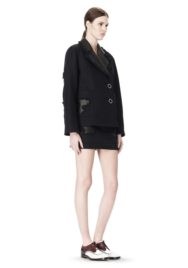 ALEXANDER WANG PEACOAT WITH DISTRESSED DETAIL JACKETS AND OUTERWEAR  Adult 12_n_e