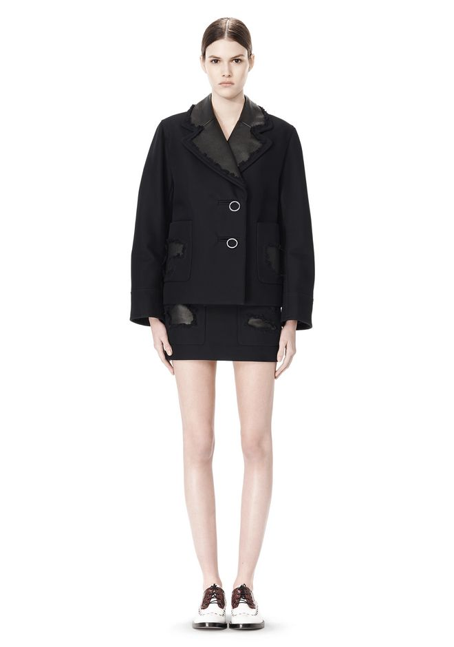 ALEXANDER WANG PEACOAT WITH DISTRESSED DETAIL