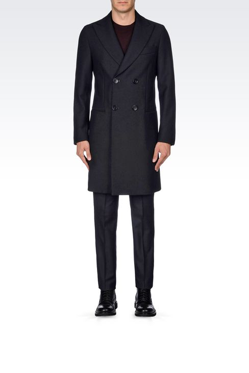 Emporio Armani Men DOUBLE-BREASTED COAT IN WOOL BLEND - Armani.com