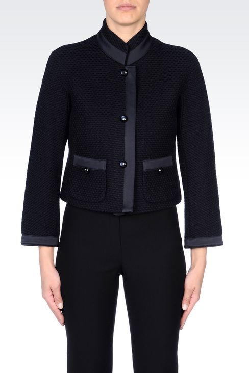JACKET IN MOSS STITCH WOOL: Three buttons jackets Women by Armani - 3