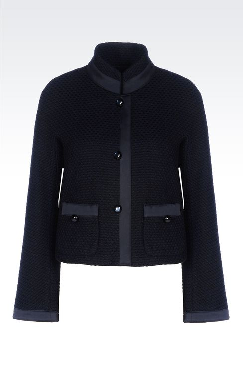 JACKET IN MOSS STITCH WOOL: Three buttons jackets Women by Armani - 1