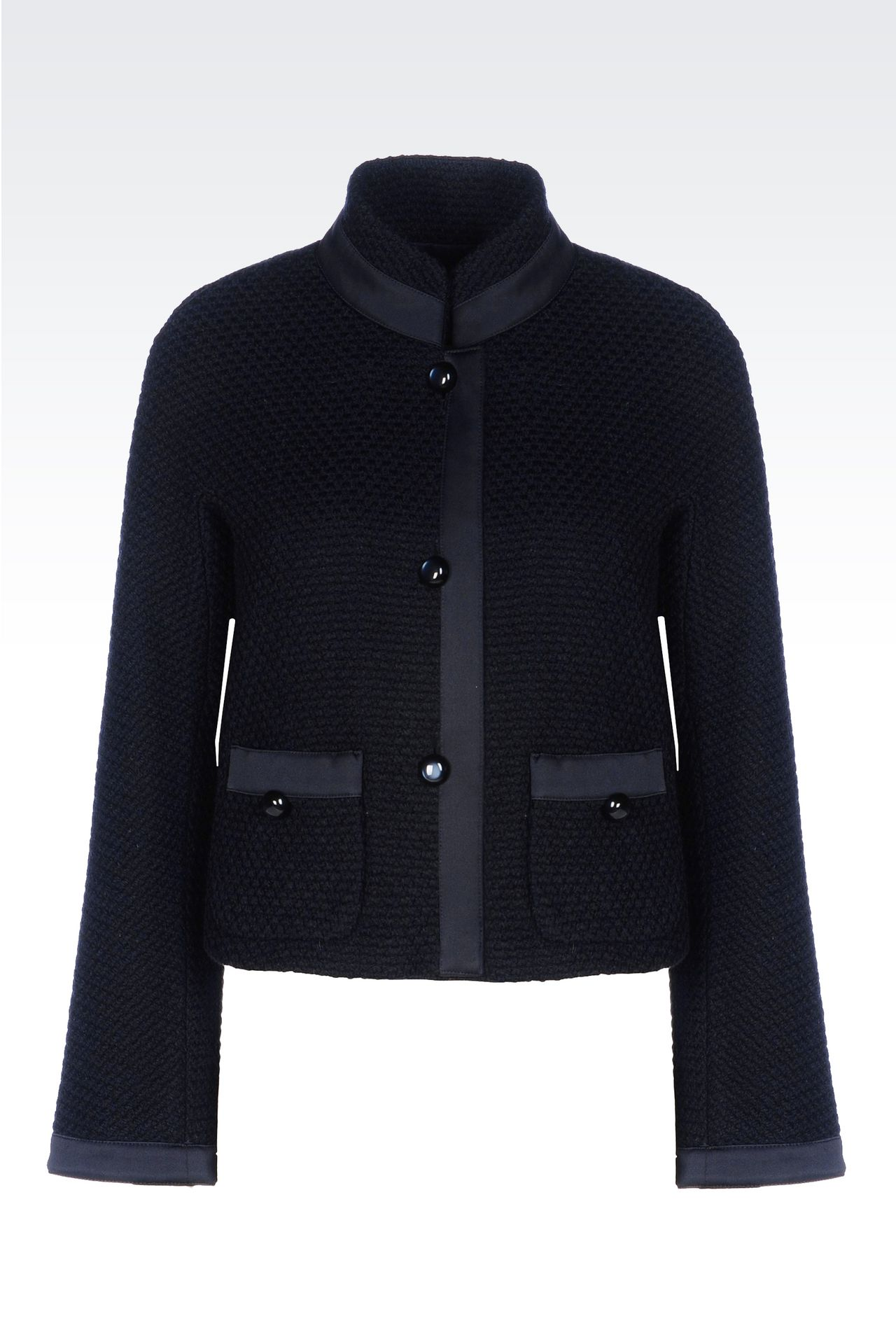 JACKET IN MOSS STITCH WOOL: Three buttons jackets Women by Armani - 0