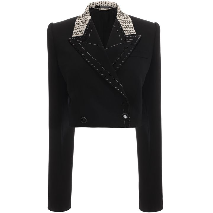 Alexander McQueen, Embroidered Cropped Double Breasted Jacket