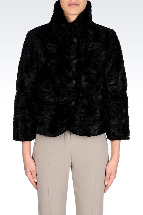 PEA COAT IN FAUX ASTRAKHAN FUR: Dust jackets Women by Armani - 3