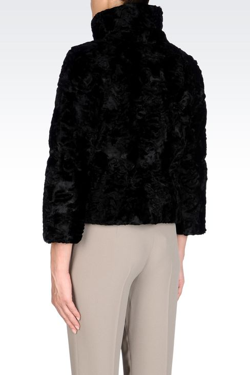 PEA COAT IN FAUX ASTRAKHAN FUR: Dust jackets Women by Armani - 4