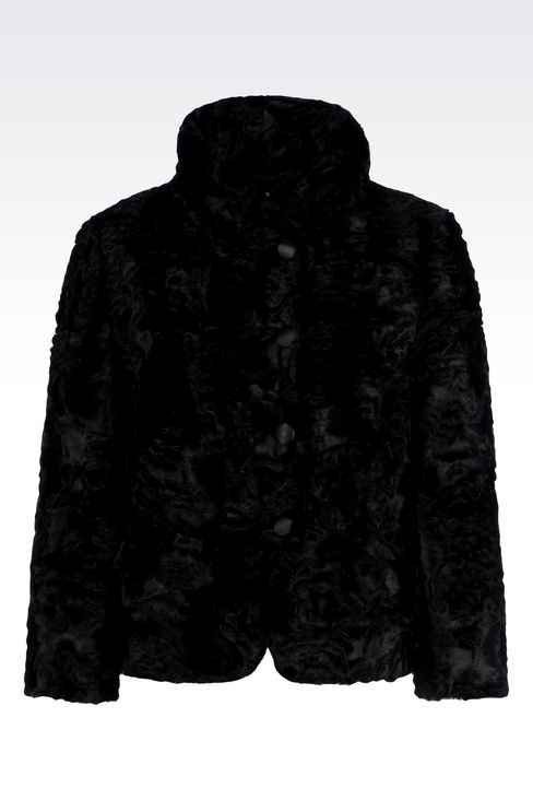 PEA COAT IN FAUX ASTRAKHAN FUR: Dust jackets Women by Armani - 1