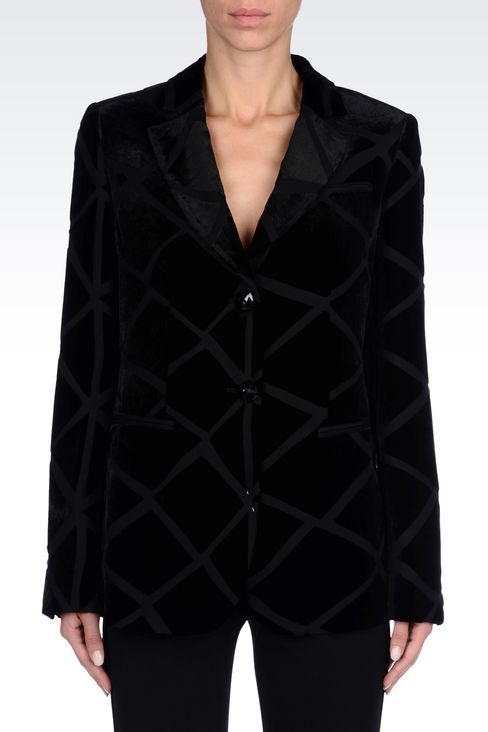 RUNWAY JACKET IN VELVET: Two buttons jackets Women by Armani - 3
