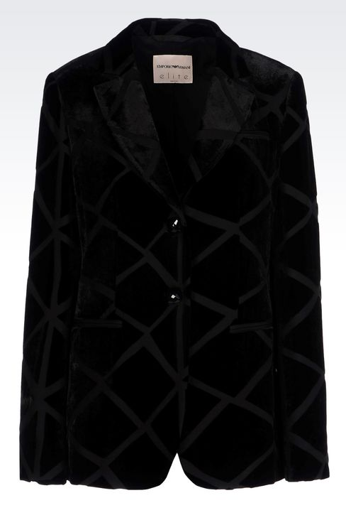 RUNWAY JACKET IN VELVET: Two buttons jackets Women by Armani - 1