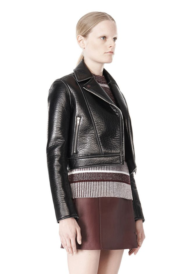 T by ALEXANDER WANG BONDED LEATHER MOTORCYCLE JACKET Jacket Adult 12_n_a