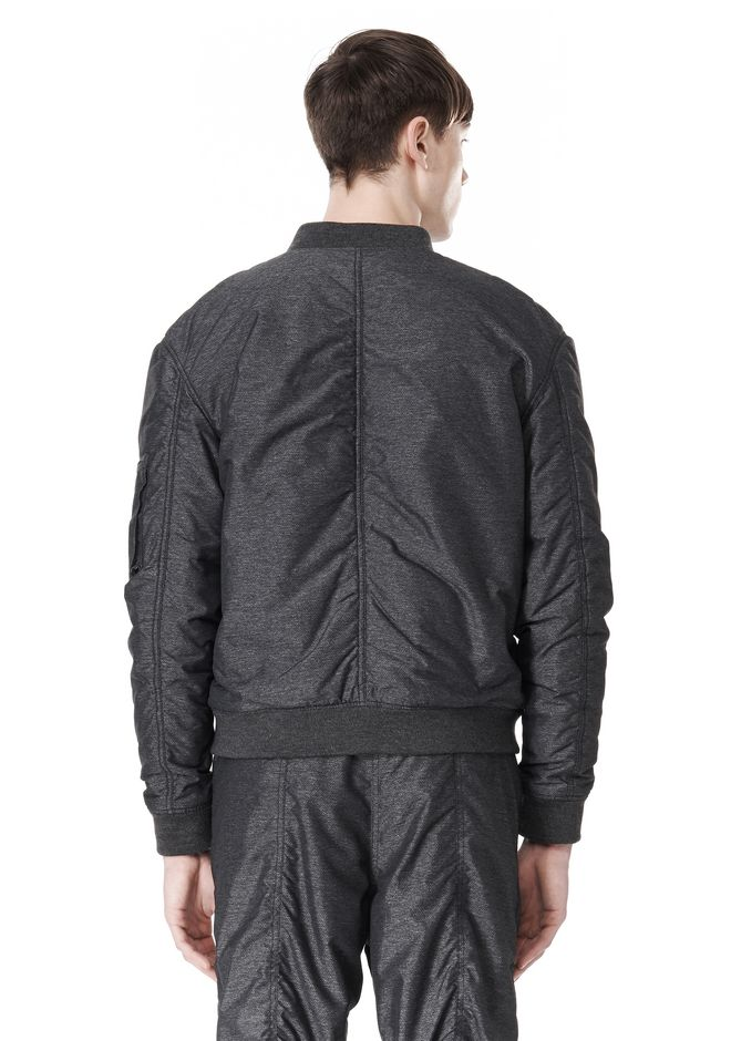 T by ALEXANDER WANG MELANGE DOBBY NYLON BOMBER JACKET JACKETS AND OUTERWEAR  Adult 12_n_d