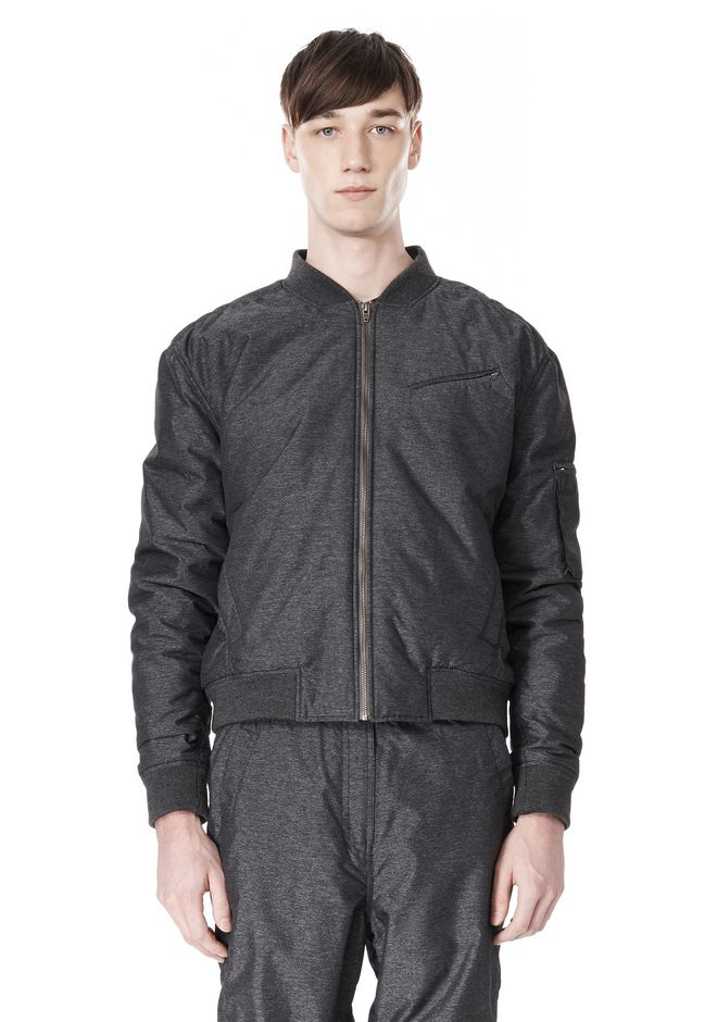 T by ALEXANDER WANG MELANGE DOBBY NYLON BOMBER JACKET JACKETS AND OUTERWEAR  Adult 12_n_e