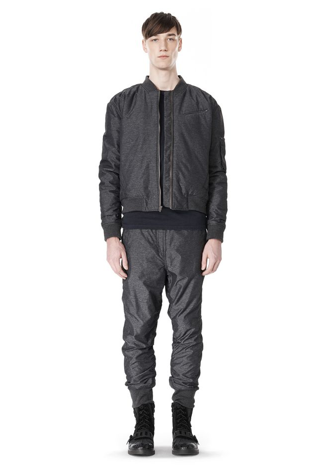 T by ALEXANDER WANG MELANGE DOBBY NYLON BOMBER JACKET JACKETS AND OUTERWEAR  Adult 12_n_f