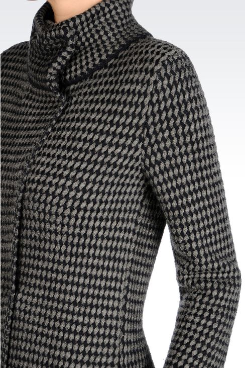 DOUBLE-BREASTED COAT IN BASKETWEAVE STITCH: Double-breasted coats Women by Armani - 5
