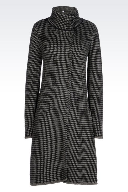 DOUBLE-BREASTED COAT IN BASKETWEAVE STITCH: Double-breasted coats Women by Armani - 1