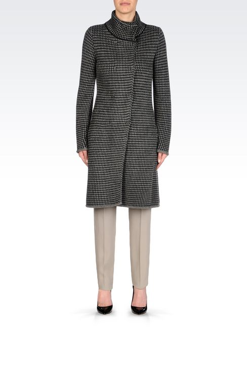 DOUBLE-BREASTED COAT IN BASKETWEAVE STITCH: Double-breasted coats Women by Armani - 2
