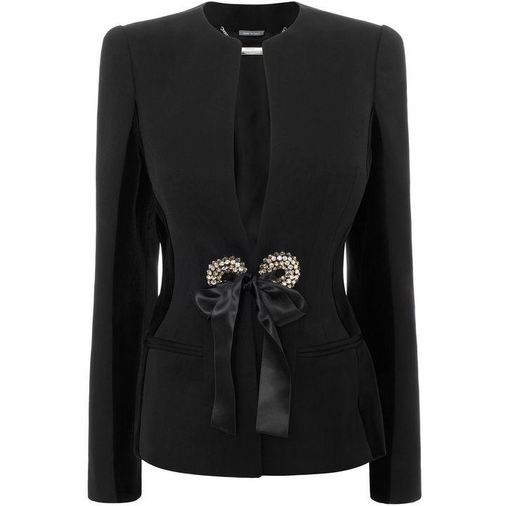 Alexander McQueen, V-Neck Velvet Insert Jacket