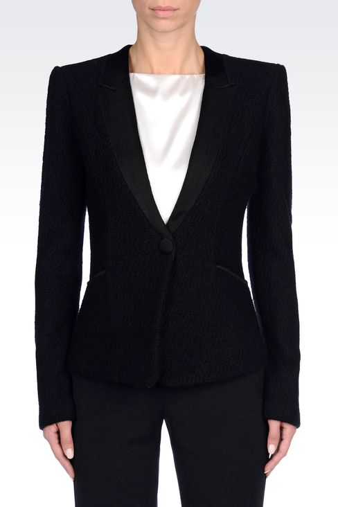 JACKET IN BOILED WOOL: One button jackets Women by Armani - 3